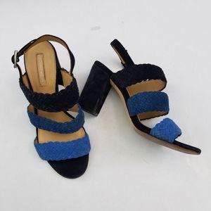 Antonio Melani Stacked Heel Shoes Blue Suede, 7